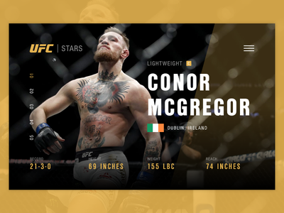 UFC McGregor Page landing card page site ui web fight fighter mma mcgregor conor ufc