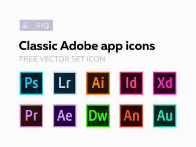 Free classic Adobe СС icons freebie creative cloud cc svg vector set icon adobe 2017 2016 2015 original