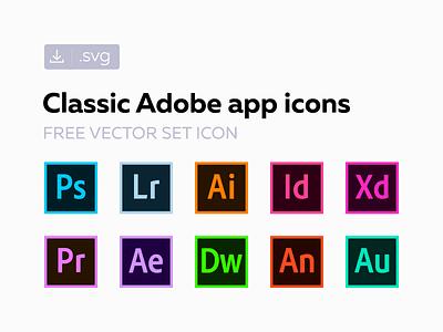 Free classic Adobe СС icons freebie creative cloud cc svg vector set icon adobe 2017 2016 2015 original