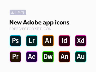 Free new Adobe СС icons freebie creative cloud cc svg vector set icon adobe 2018 2017 original
