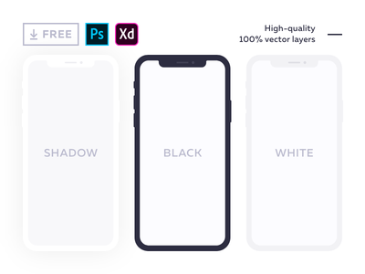 Free flat mockup for iPhone X adobe experience design photoshop phone mock up xd psd vector iphonex iphone free freebie