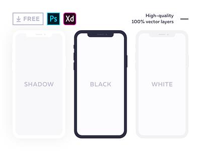 Free flat mockup for iPhone X adobe experience design photoshop phone mock up xd psd vector iphonex iphone free freebie