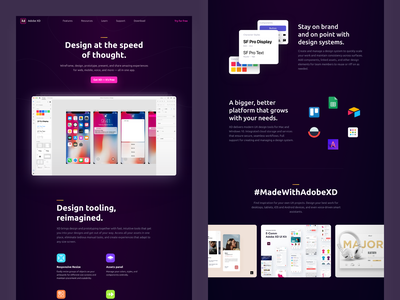 Adobe XD Product landing page adobe madewithadobexd landing promo site xd web design ux ui