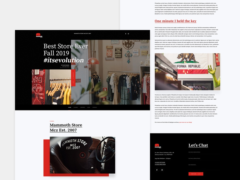 Mammoth Store - Website website web ux ui typography store red and black black red page modern homepage home fashion design dark interface creative clothing clothes clean