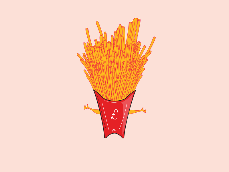 Great British Pound of French Fries character design fries branding minimal adobeillustrator illustration vector flat