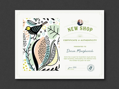 New Shop Certificates seal typography type layout design print birth certificate