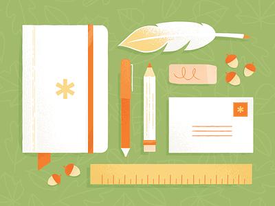 Autumn Instruments vector texture illustration acorns quill notebook pencil tools fall autumn