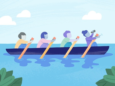 Rowing Together vector boat leadership management texture illustration icon
