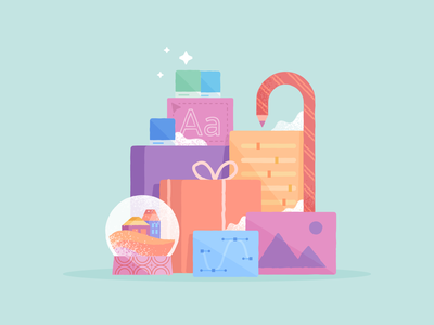 Holiday Gifts branding texture vector gifts christmas holiday winter illustration