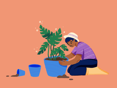 Technical Debt plant monstera gardening technical debt editorial drawing texture illustration