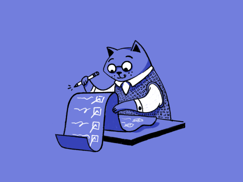 Business Cat character texture drawing cat release notes editorial illustration