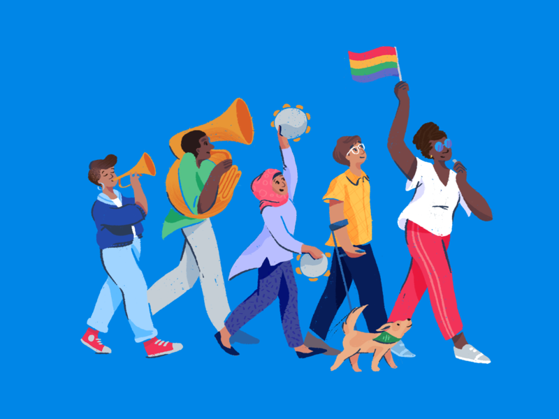 Happy Pride! illustrator hero editorial character drawing texture pride illustration