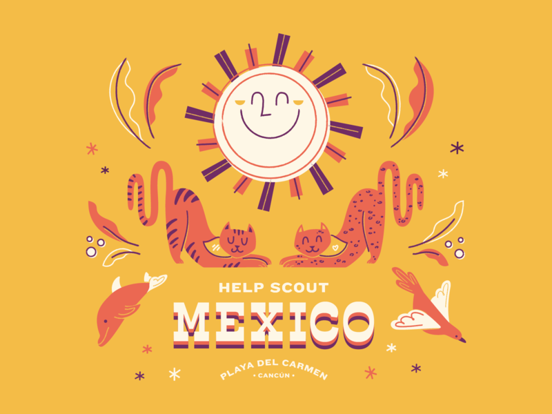 Help Scout in Mexico screenprint illustration retreat tote swag