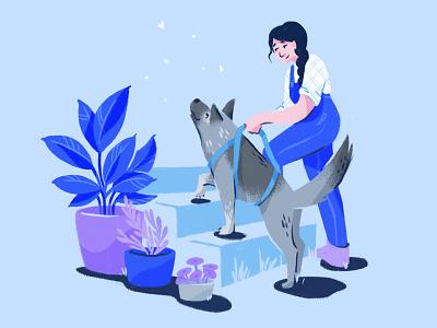 Senior Doggos editorial illustration dog character texture illustration