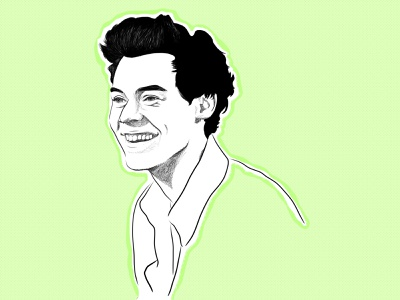 Harry Styles one direction harry styles color graphic design design sketch pen and ink minimalist digital illustration digital art business illustration portrait illustration