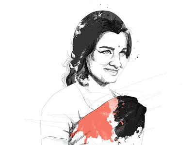 Asha Parekh successful 70s 60s actress india asha parekh sketch pen and ink digital illustration digital art business illustration portrait illustration
