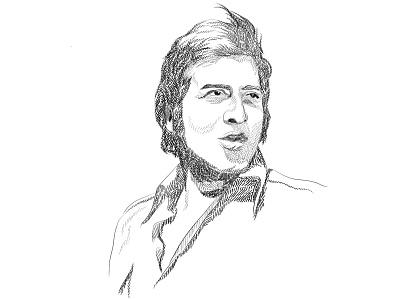 Vinod Khanna india 70s 60s actor sketch pen and ink digital illustration digital art business illustration portrait illustration