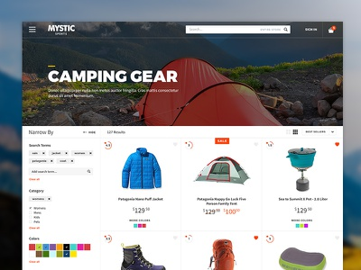 Category Page Layout category page search results store camping web design web ecommerce