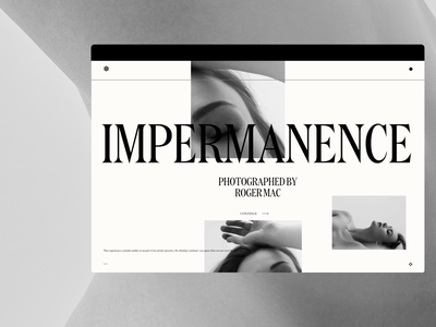 Impermanence photography design 3d motion typography portfolio agency website web ui ux branding web design