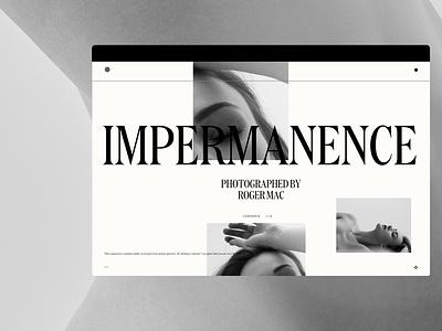 Impermanence photography design 3d motion typography portfolio agency website web ui ux branding web design