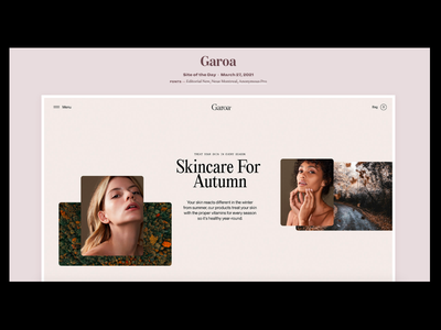 Garoa Site of the Day on Typewolf motion design design minimal portfolio typography ui web design ecommerce design websites website branding beauty ecommerce