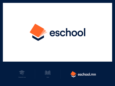 eSchool.mn education logo school logo logo minimal icon flat technology logo education graduation college school hat