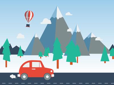 Adventure mountains trees illustration adventure outdoors balloon