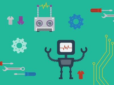 Robot Themed Background hardware graphics background pattern robots
