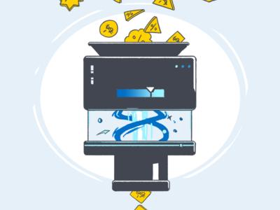 Rate Management Machine graphics drawn machine illustration