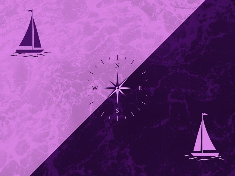 Direction design olya leroy purple illustration boat sailing compass direction