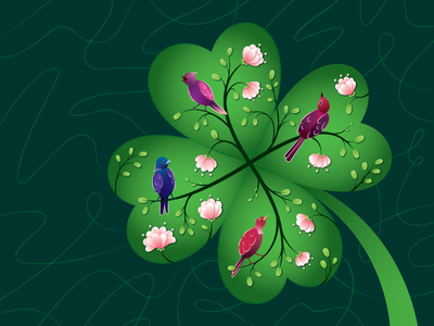 The Lucky Clover editorial green flowers texture spring birds four-leaf clover luck clover art olya leroy illustration