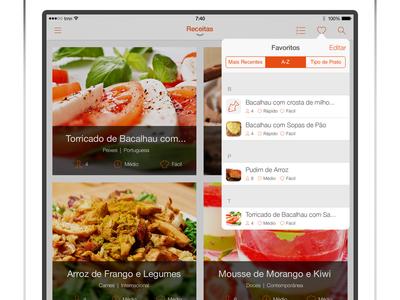 iPad SAPO Sabores - Favourites