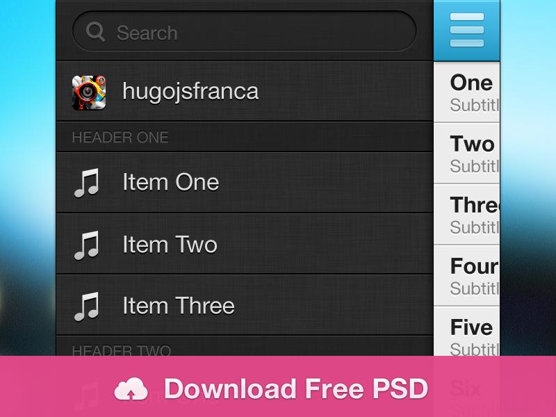 iOS Sidebar Menu by Hugo França on Dribbble