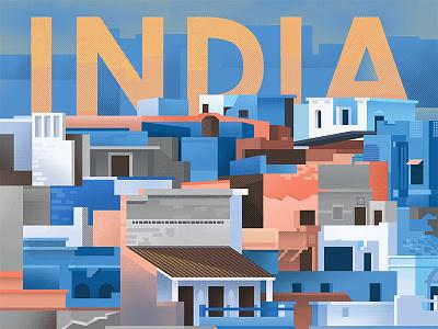 India Travel Poster textures halftone sunrise twilight bricks favela building color poor india