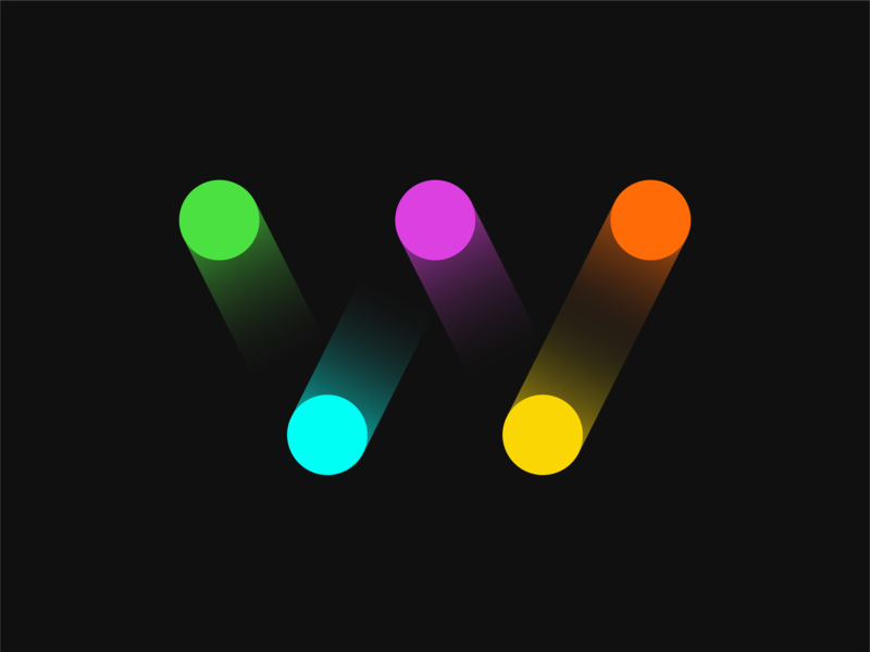 W icon motion letter w letter gradient color gradient circles circle design typogaphy design
