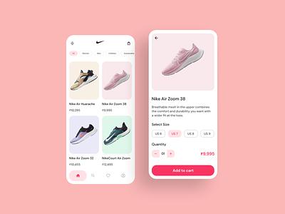 Nike shoe App UI Design ui soft ui minimal design dribbble shot shoe ui shoe app interaction design ui design design nike shoe nike