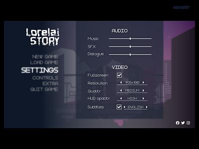 dailyUI 007 menu gamemenu settings game design dailyui