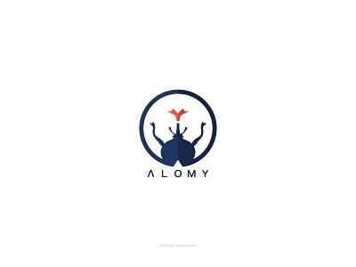 Branding Alomy two color love beetle stagbeetle natrual camping insect alomy type logotype logo design brand identity brand design logo flat branding