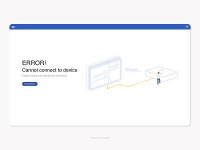 Error! Cannot connect web design website web oops reconnect error message unconnect reboot flat ui error