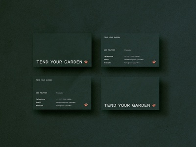 Tend Your Garden green garden icon pitch sans identity collateral business cards