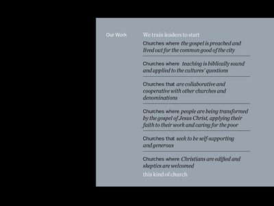 This kind of church typogaphy layout editorial copy brand book