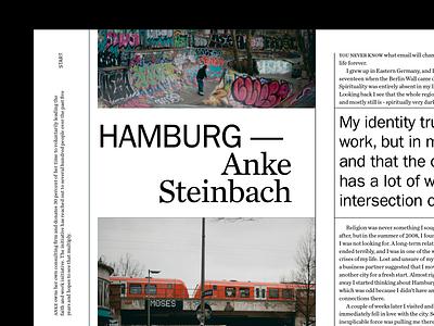 Hamburg layout typography franklin gothic layout design