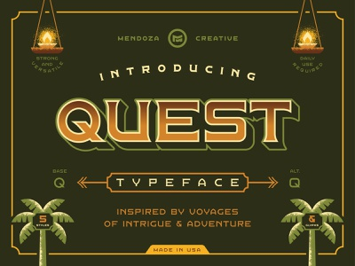 Quest Typeface illustration lettering voyage quest texture vector badge design tropical disneyland adventure typography typeface font