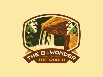 8th Wonder of the World sticker disney art congo queen adventure adventureland river waterfall palmtree jungle tropical typeface logotype font quest badge logo disneyland disney badge jungle cruise