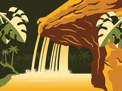 8th Wonder palm tree tropical jungle waterfall cruise adventureland adventure vector illustration 8th wonder of the world jungle cruise disneyland disney