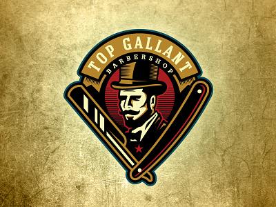 Top Gallant Barbershop vintage gentleman fresh fancy straight razor top hat barbershop barber badge logo