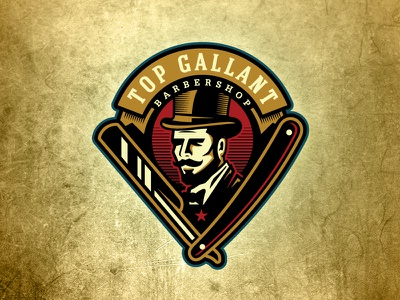 Top Gallant Barbershop vintage gentleman fresh fancy straight razor top hat barbershop barber badge logo