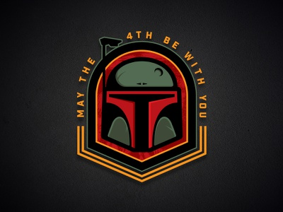 May the 4th be with you mascot sports force empire vector badge logo bounty hunter boba fett star wars