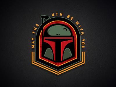 May the 4th be with you mascot sports force empire vector badge logo bounty hunter boba fett star wars