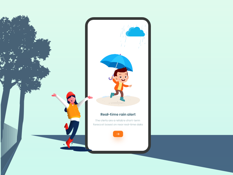 Real time rail alert uidesign ios splashpage design user experience design illustration rain weather app ux